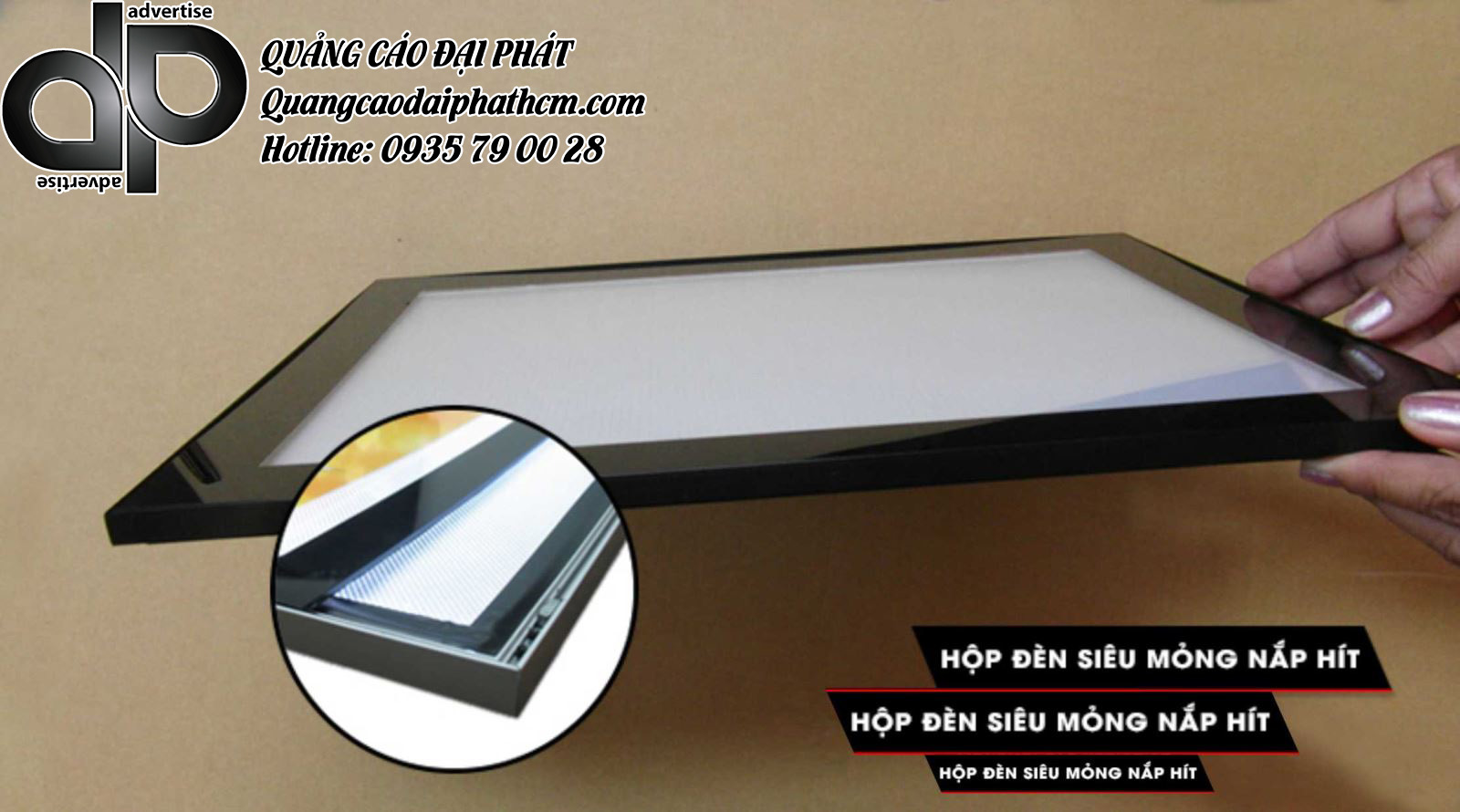 hộp đèn siêu mỏng nắp hít